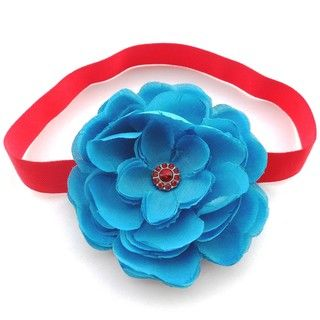 Bow Clippeez 2 Envy Turquoise and Red Boutique Flower Headband