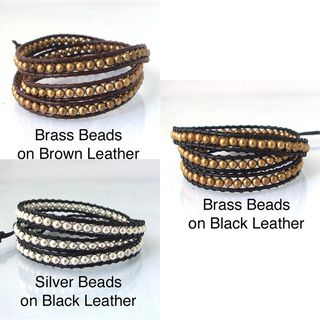 Sublime Metallic Round Beads Triple Wrap Leather Bracelet (Thailand