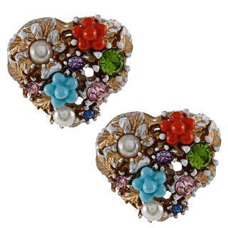 Betsey Johnson Heart Charm Stud Earrings