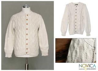 Mens Alpaca Wool Snow Cardigan Sweater (Peru)