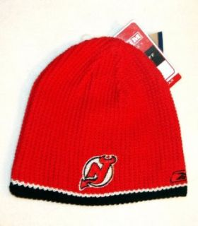 NEW JERSEY DEVILS Red/Black Reversible Knit Ribbed Beanie