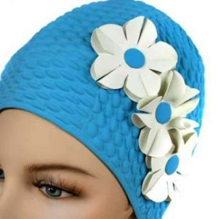 Blue W/White Flowers Vintage Style Latex Swim Bathing Cap