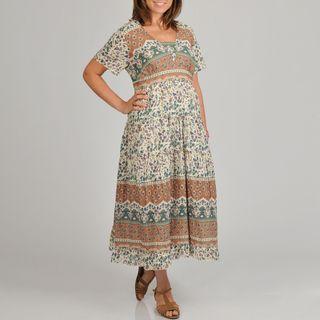 La Cera Womens Plus Size Floral Print Tiered Long Dress
