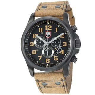 Luminox Mens Atacama Black Dial Tan Leather Strap Quartz Watch