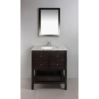 New Haven Espresso Brown 30 inch Bath Vanity with 2 Drawers and