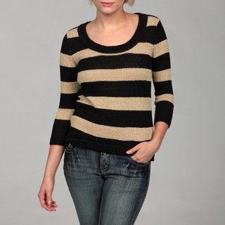 Cable & Gauge Womens Black/ Safari Stripe 3/4 sleeve Sweater
