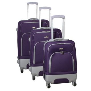 Mobility Dejuno Purple 3 piece Expandable Spinner Luggage Set