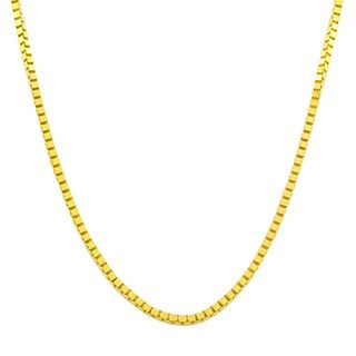 Fremada 14k Yellow Gold Box Necklace (16 inches to 30 inches