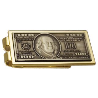 Goldtone 100 dollar Bill Money Clip