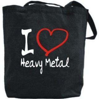 Canvas Tote Bag Black  I Love Heavy Metal  Music
