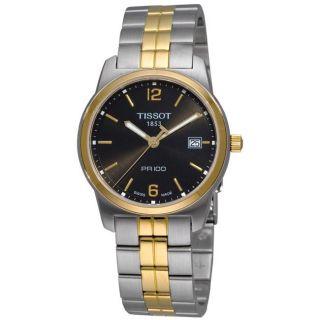 Tissot Mens T Classic PR 100 Black Face Two tone Watch