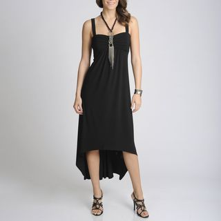 Richards Womens Black High low Dress with Necklace