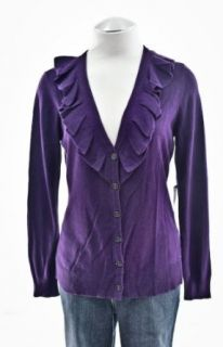 Ralph Lauren Regal Purple Silk Cashmere Ruffle Cardigan