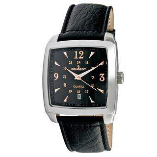 Peugeot Mens Silvertone Black Leather Strap Watch