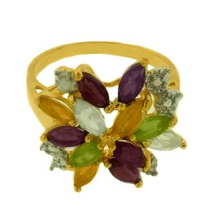 Gem Jolie Gold over Silver Multi gemstone and Diamond Accent Ring