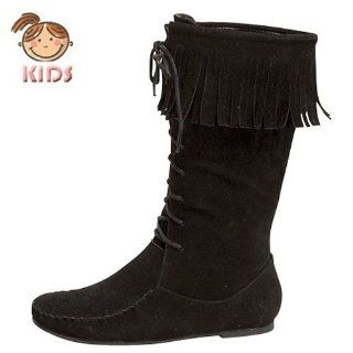 Jump 2K Little Girls Moccasin Lace up Fringe Boots Black Shoes
