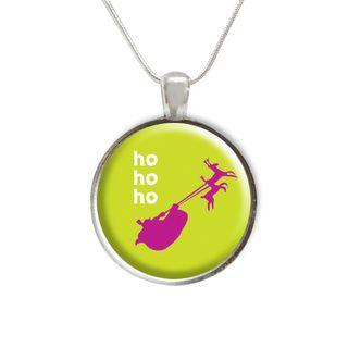 Ho Ho Ho Christmas Glass Pendant and Necklace