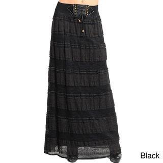 Stanzino Womens Lace up Banded Waist Maxi Skirt
