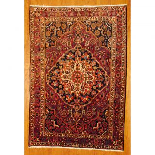 Persian Hand knotted Bakhtiari Rust/ Navy Wool Rug (66 x 910