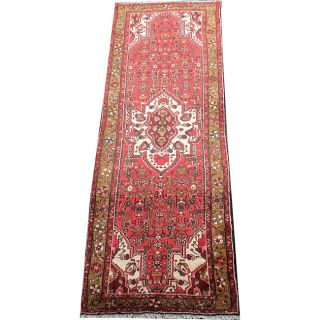 Persian Hand knotted Hamadan Red/ Brown Wool Rug (39 x 102
