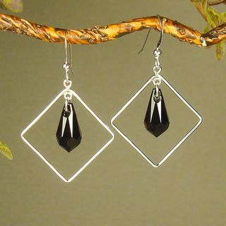Jewelry by Dawn Diamond Shaped Black Crystal Sterling Silver Earrings