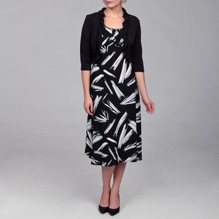 Sandra Darren Womens Black/ White 2 piece Dress