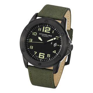 Stuhrling Original Mens Pilot Ace Quartz Canvas Leather Strap Watch
