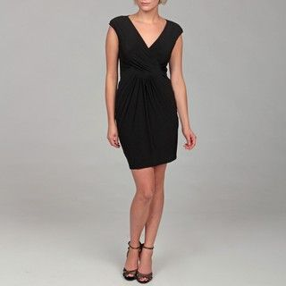 Miss Sixty Womens Black Surplice Ruched Dress
