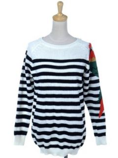 Anna Kaci S/M Fit Black White Stripe Colorful Parrot