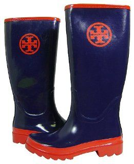 Tory Burch Logo Rubber Rain Boots Navy Red Shoes
