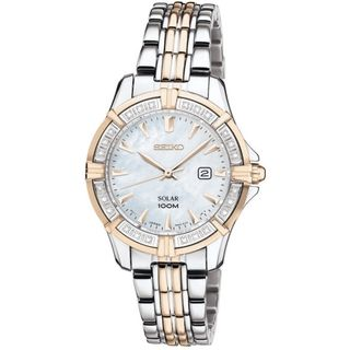 Seiko Womens Solar Mother of Pearl Dial Gold Diamond Watch