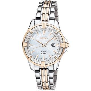 Seiko Womens Solar Moer of Pearl Dial Gold Diamond Watch