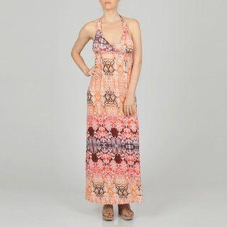 LA Gold Womens Coral Allover Scroll Maxi Dress