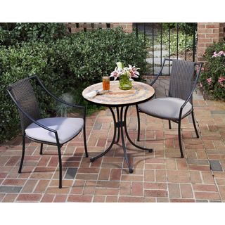 Terra Cotta 3 piece Tile Top Bistro Set