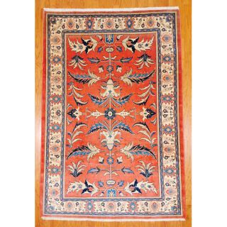 Persian Hand Knotted Sarouk Rust and Ivory Wool Rug (71 x 106