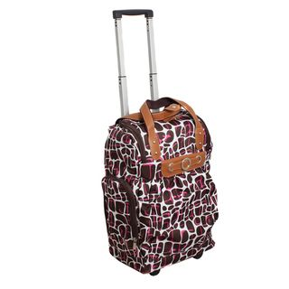 Runway Ladys Lightweight Brown Carry on Rolling Luggage Bag