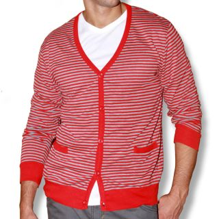 191 Unlimited Mens Red Stripe Cardigan Sweater