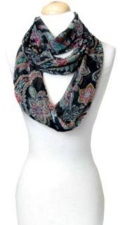 Elegant Colorful Paisley Black Sheer Infinity Loop Scarf