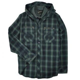 Howe Mens Hooded Plaid Shirt Jacket, Ravens Blue, M