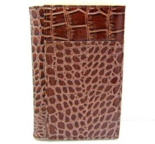 Brown Alligator Croc Print Passport Cover Holder Shoes