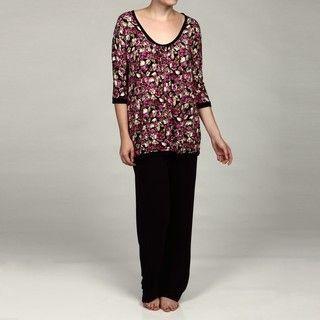 Ellen Tracy Womens Venetian Rose Pajama Set