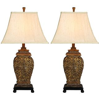 Casa Cortes Frech Scrolls 3 Way 30 inch Table Lamp (Set of 2