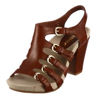 Earthies by Earth Womens Tan Leather Buckle Sandals