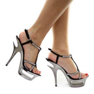 com Krasceva Black Diamante T Bar Strap Womens Platform Heels Shoes