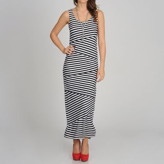 Sophia Christina Womens Black/ White Stripe Mermaid Tail Dress