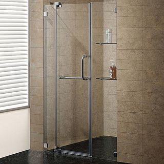 Vigo 48 inch Clear Glass Frameless Shower Door with Brushed Nickel