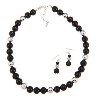 Roman Silvertone Black Beaded Jewelry Set