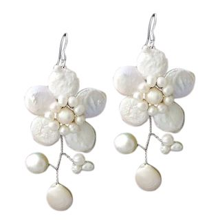 Sterling Silver Lace Sakura White Pearl Flower Earrings (Thailand