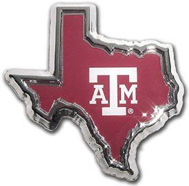 Texas A&M Aggies Texas Shaped Color Chrome Metal Auto