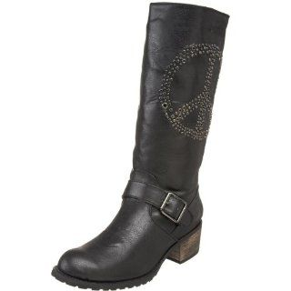 Volatile Womens Rebel Peace Sign Boot,Black,6 M US Shoes